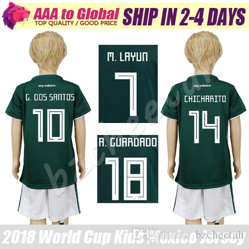 2018 Kids Mexico Jersey 2018 World Cup Mexico Young Jerseys Kits 18 19 Mexico  G.Dos Santos Chicharito H.Herrera M.Layun Children Soccer Kit From  Bzcheetah, ...