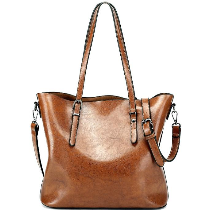 Women Retro Oil Wax Leather Totes Designer Handbag Casual Fashion Vintage  Shopping Travel Leather Tote Shoulder Bag All Match Large Capacity Ladies  Bags ... 4dfaa613c25fc