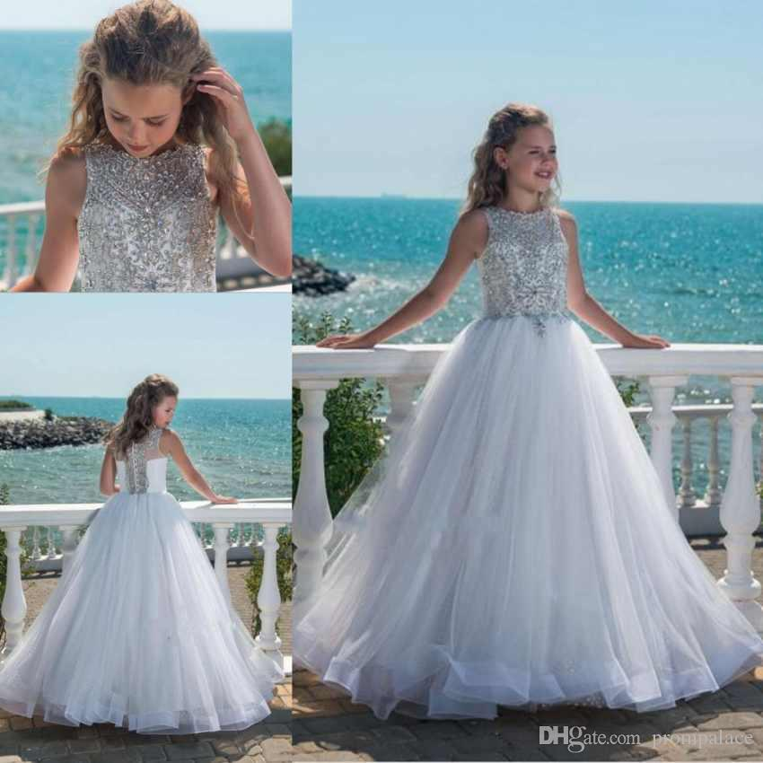 Hot Selling Crystal Girls Pageant Dresses With For Teens Tulle Floor