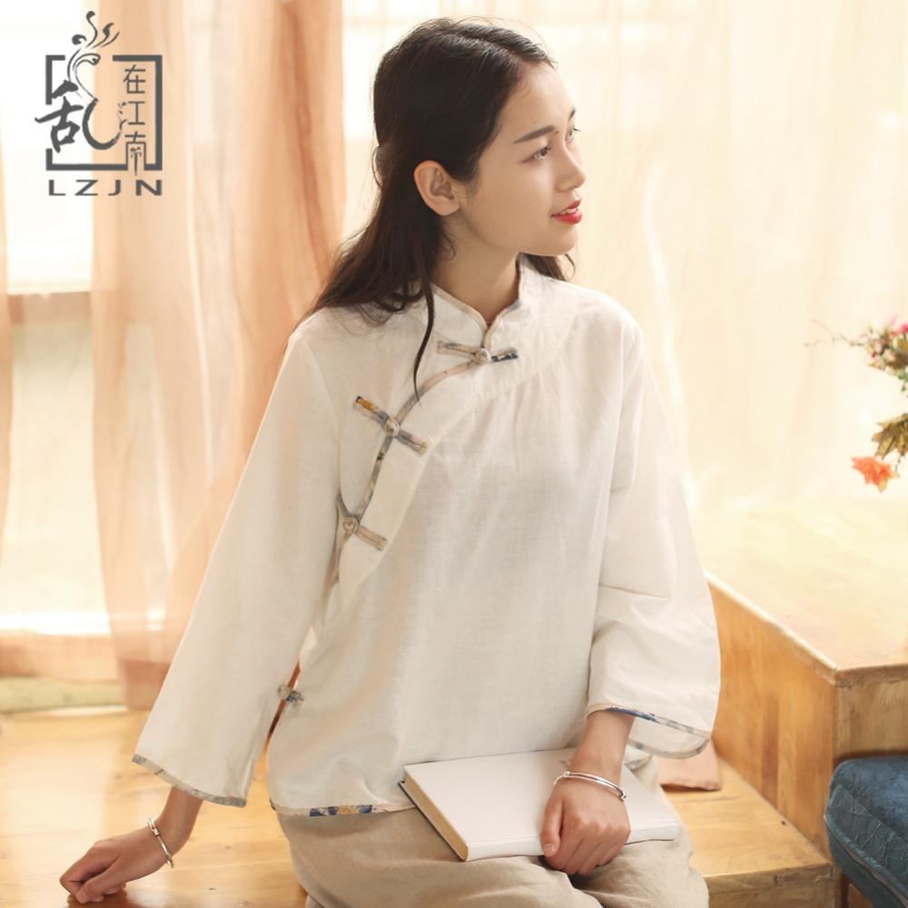 ee2702fa5155 2019 LZJN Original 3 4 Sleeve Cotton Linen Blouse Women 2018 Spring Shirt  Chinese Traditional Cheongsam Top Ladies Short Blouses 7338 From Honhui