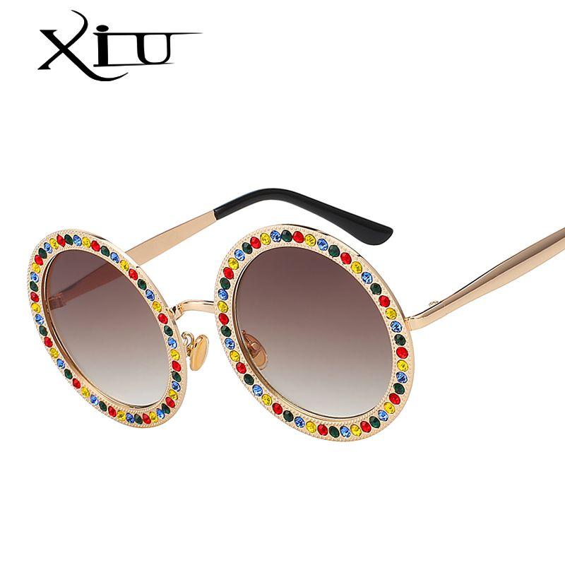 Grandes De Verano Diseño Gafas Superior Metal Piedra Xiu Sol Marco Uv400 Calidad Mujeres Marca Cristal Redondas ZuPikXO