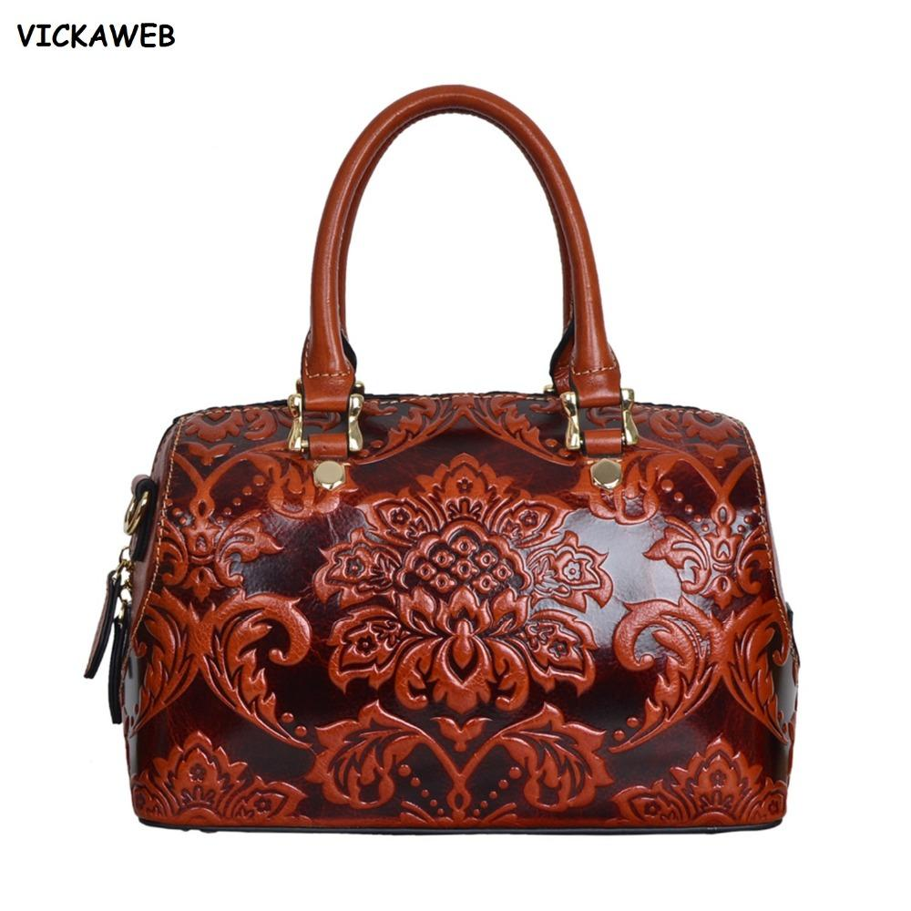 15eb20e1bf6e Floral Pattern Women Leather Handbags Genuine Leather Bag Luxury Brand  Ladies Shoulder Bags Famous Designer Handbag Ladies Bags Leather Purses  From Memebiu