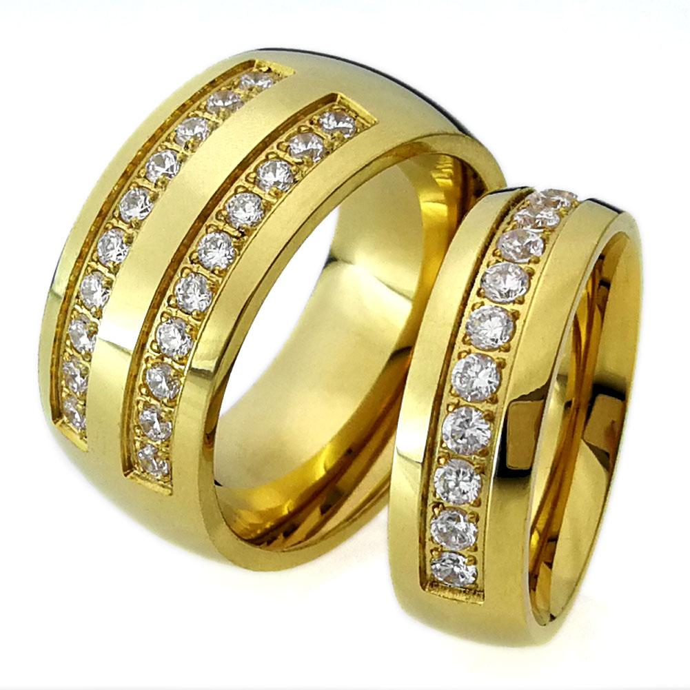 2019 His Her Gold Tone Stainless Steel Wedding Engagement Ring Band