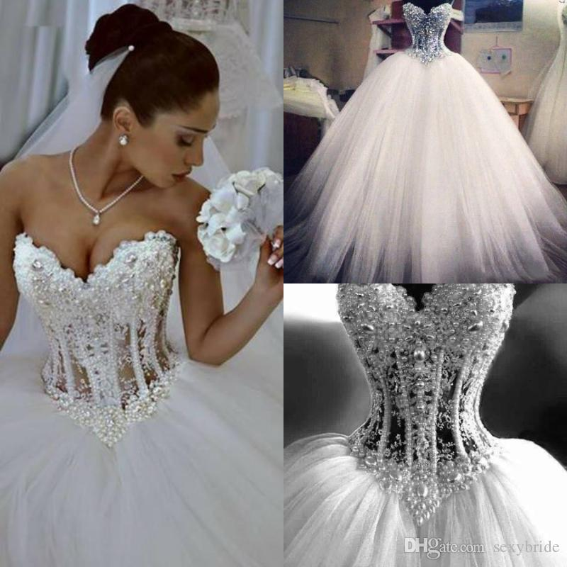 69c063c31c Luxurious Pearls Beaded Corset Wedding Dresses Sweetheart See Through Lace  Appliques Ball Gowns Floor Length Princess Bridal Dresses Lace Dresses Semi  ...