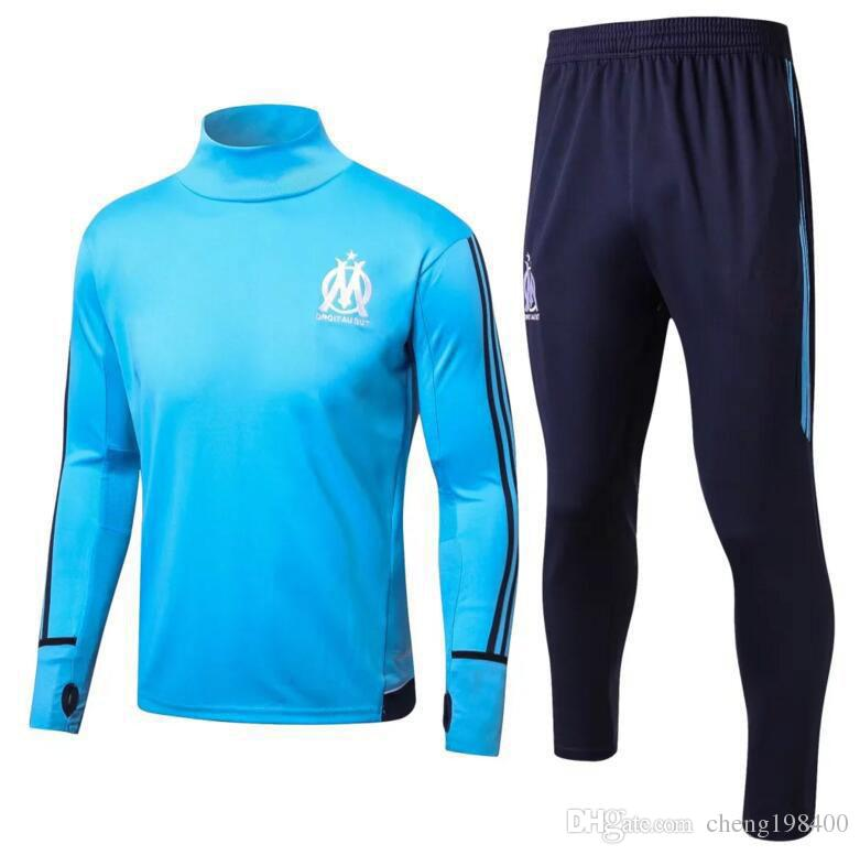 2017 2018 Olympic Marseille Tracksuit Soccer Jogging Football Tops ... 486df0fad74fe
