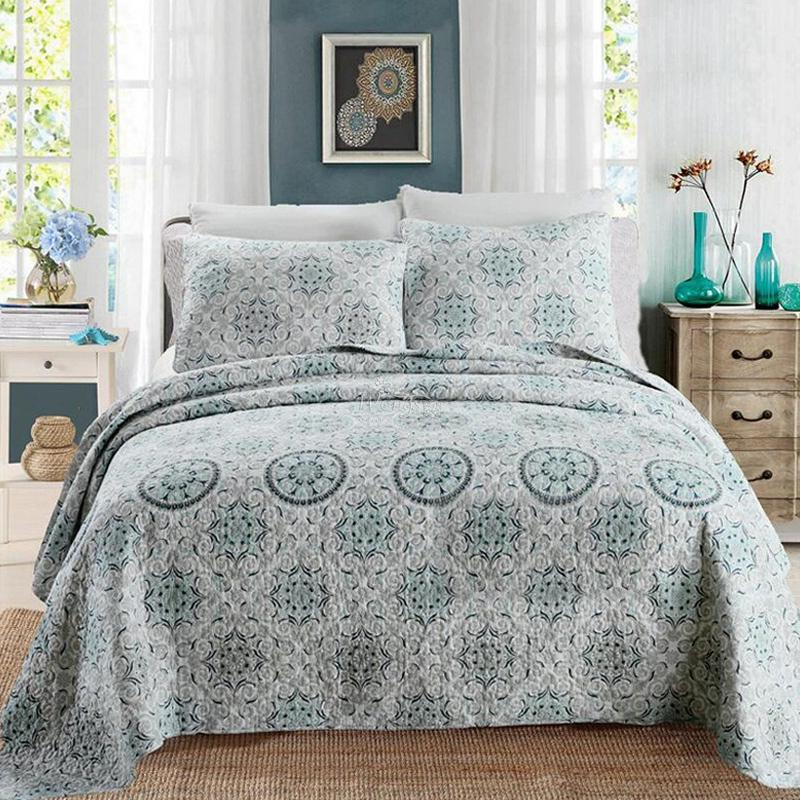100 cotton bedspread pillow cases queen king size coverlet set high