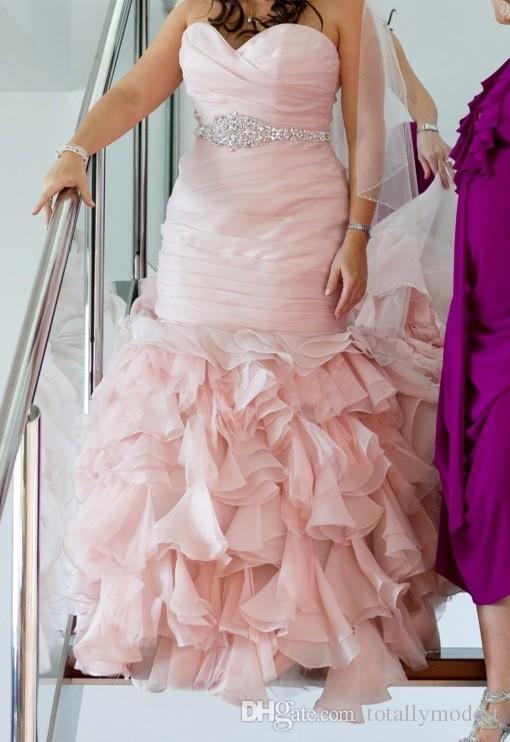 احمرار الوردي حورية البحر الحبيب الملونة فساتين الزفاف مع مطرز الحزام الكشكشة تنورة مشد الظهر الحديثة أثواب الزفاف كوتور مخصص