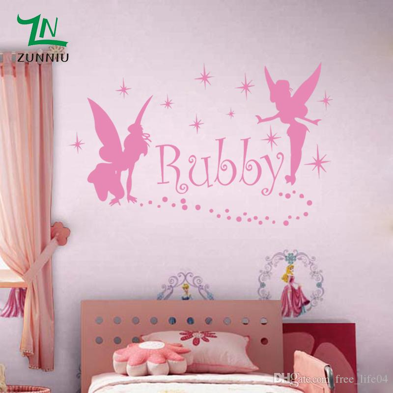 c8c1032da3a1 Fairies Gngel Dress Stars Custom Name Wall Stickers For Girls Kids Rooms Wall  Personalized Names Decoration Decal Home Decor Removable Wall Art Stickers  ...