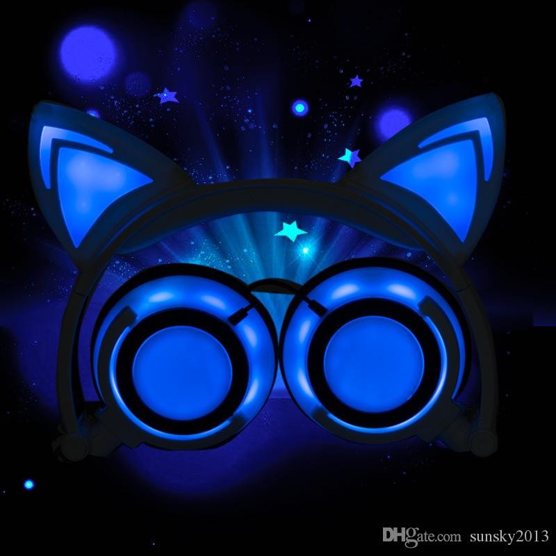 Cat Ears Headphones LED Light Cute Headsets for Computer Phone Gaming Flashlight Wired Earphone Built-in Battery Can be Charged