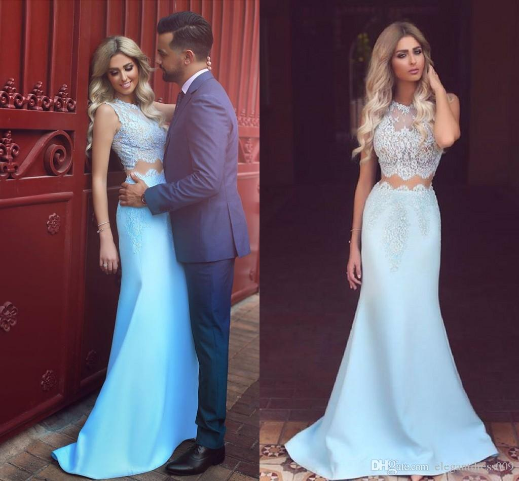 1953b1533e7 Baby Blue 2018 Two Piece Mermaid Prom Dresses Jewel Neck Lace Applique Floor  Length Satin Long Formal Party Evening Dress Wear Custom Prom Dresses  Singapore ...