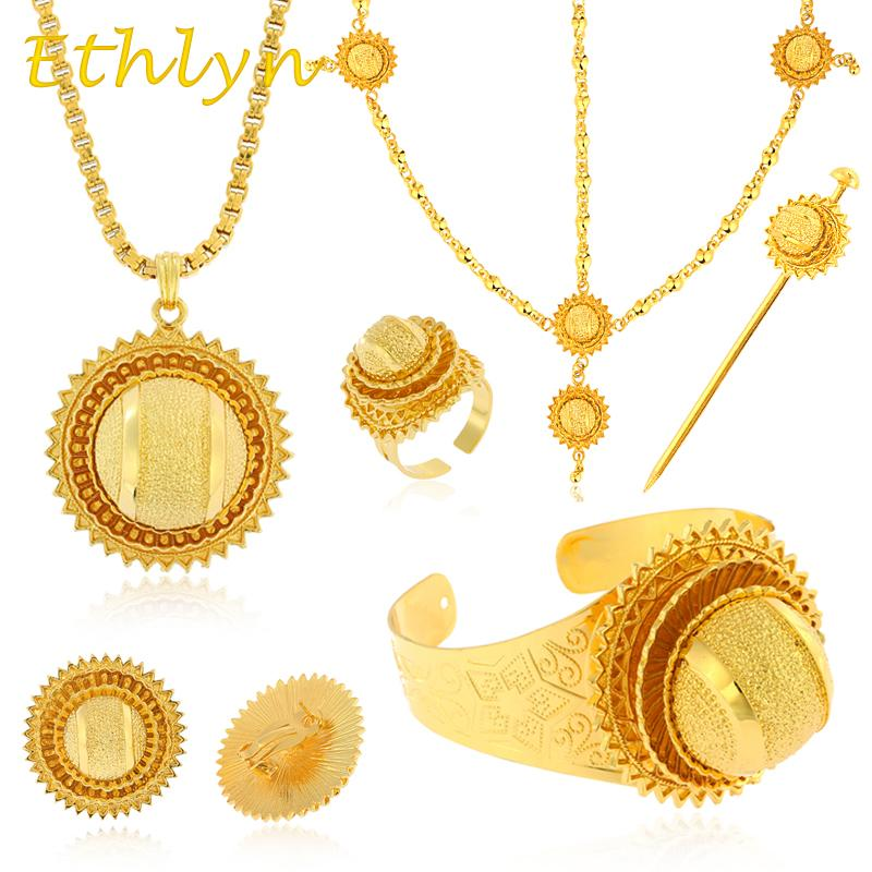Whole Saleethlyn Traditional Ethiopian Bridal Jewelry Sets Big Gold