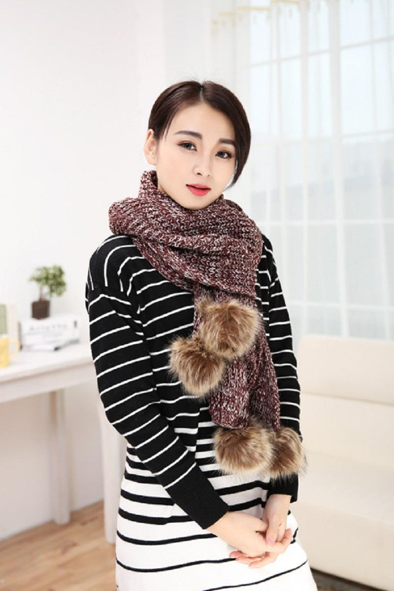 New Arrival Winter Big Rabbit Fur Ball Knitted Thick wool Scarves Long Knitted Warm Scarf Cape Cloak Pashmina