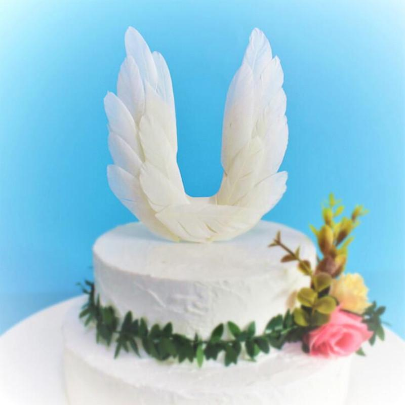 2019 White Feather Lighted Angel Wing Cake Toppers Cupcake Dessert
