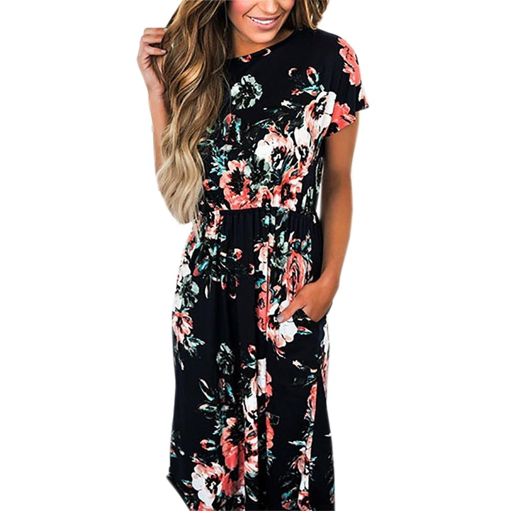 Floral Print 2018 Long Dress Women Summer Dress Short Sleeve Party Boho  Casual A Line Pockets Sundress Plus Size GV785 D1891305 Pink And White  Dresses For ... 7aa7282d79d4