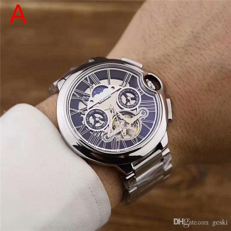 Orologi da uomo di lusso di alta qualità Cinturino in acciaio inossidabile movimento automatico Vetro zaffiro specchio orologio da immersione automatico da polso I