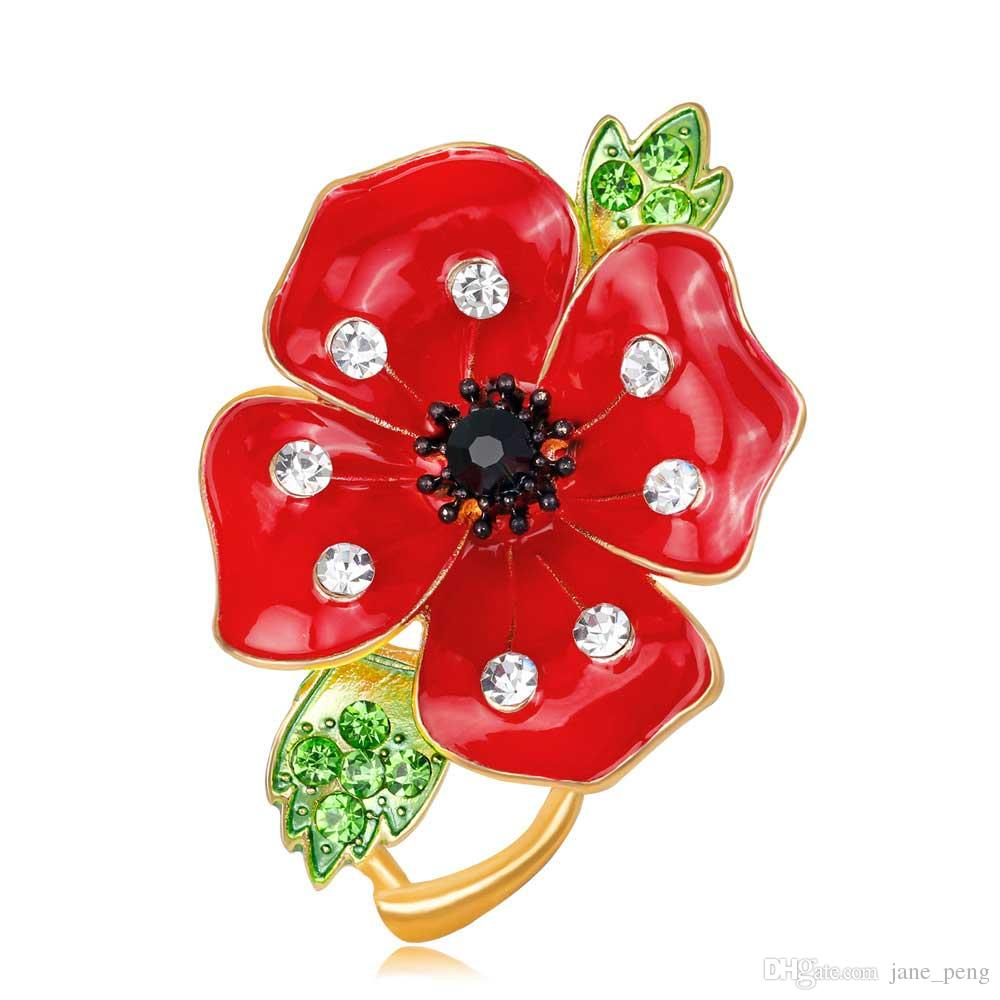 Red Poppy Flower Brooch Pins With Crystal For Women Men Suit Broach