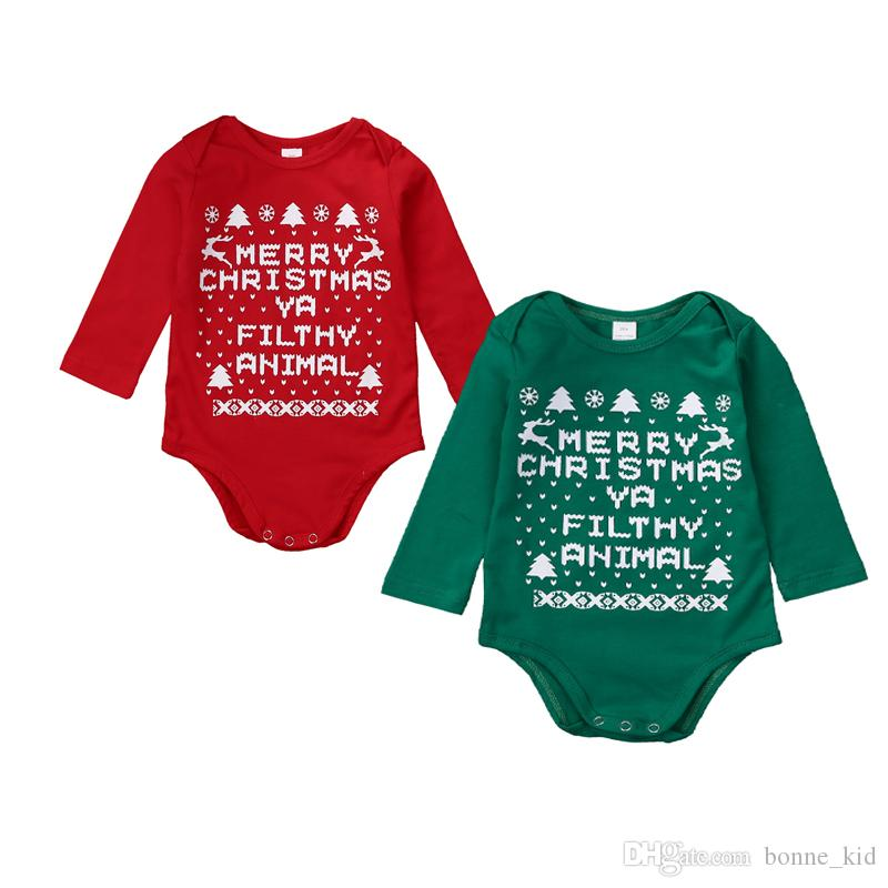 9fc260304509 2019 Merry Christmas Baby Cotton Romper Letter Print Onesies Long ...