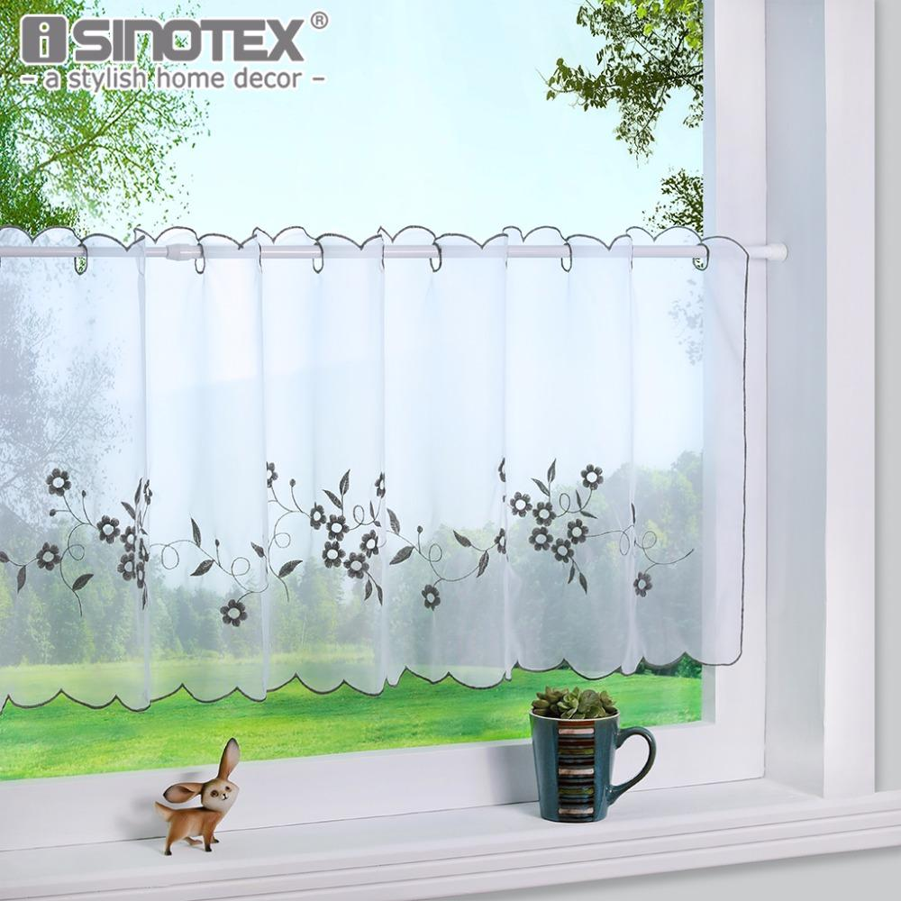 2018 Kitchen Curtain Fashion Cafe Floral Embroidery Cotton Pastoral ...