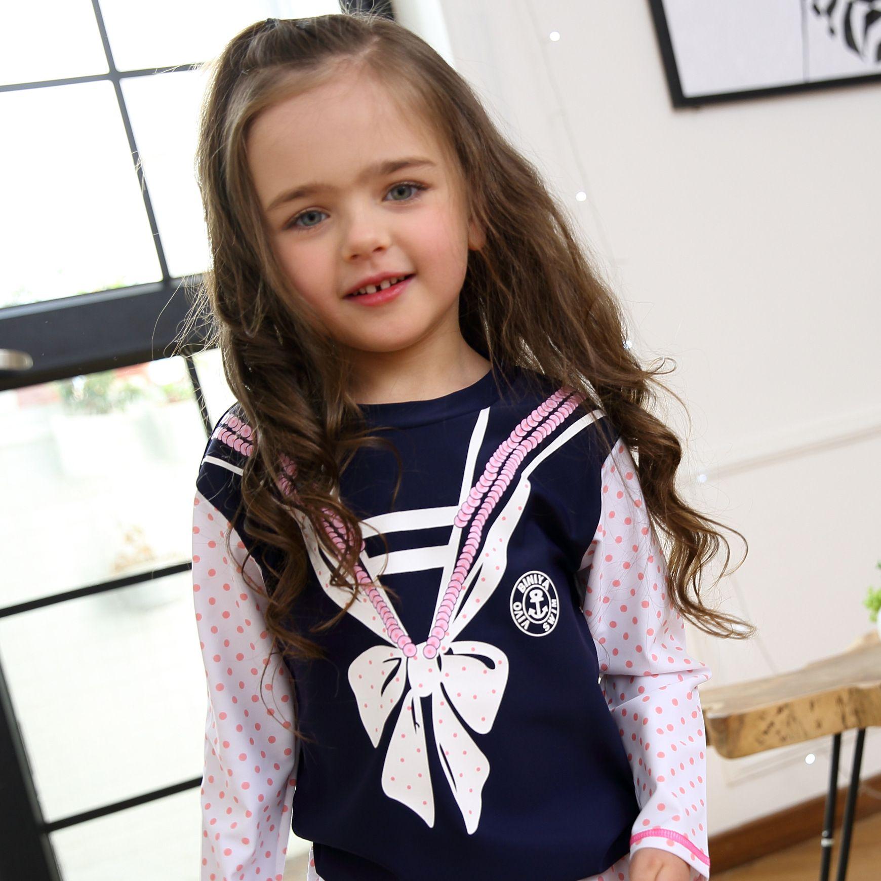 105d7e9405e8f 2019 2018 Brand New Children Girls Long Sleeve Swimsuit UV Proof Quick Dry Swimwear  Highly Elastic Comfortable Swimsuit Blue From Minniehoney, ...