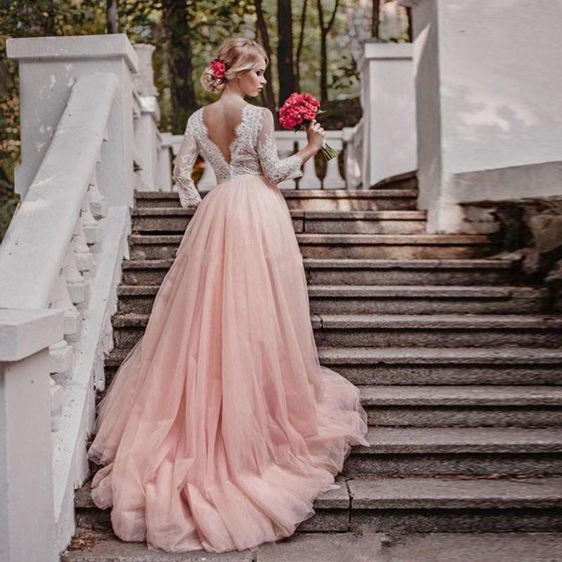 Elegant Blush Pink Wedding Dresses V Neck 3/4 Long Sleeves Lace Tulle  Backless Plus Size Wedding Gowns Custom Made Bridal Dresses