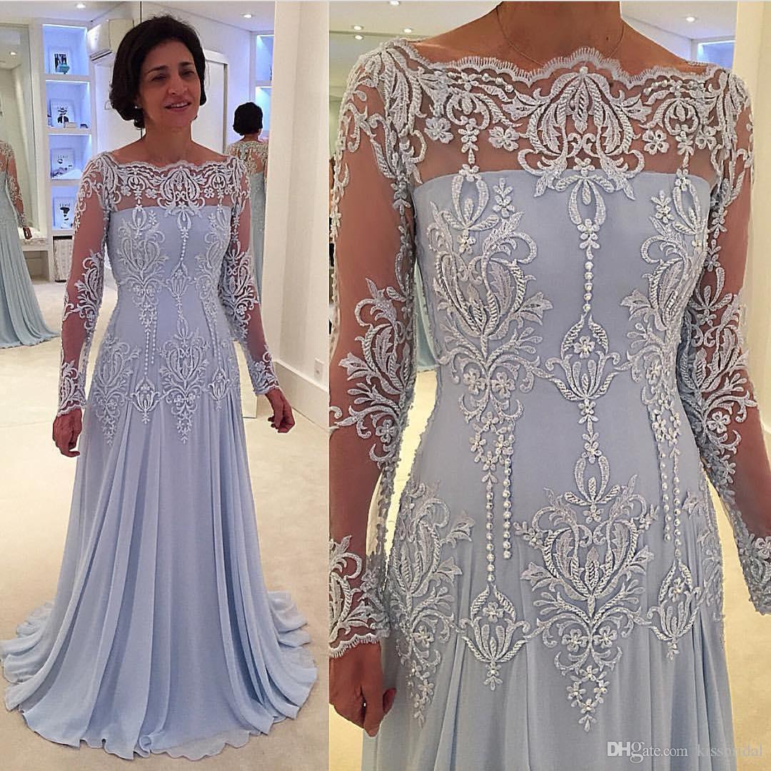 Großhandel Hellhimmelblau Kleid Für Die Brautmutter Mit Langen Ärmeln  Spitze Plus Size A Line Formelle Abendkleider Bateau Ausschnitt Chiffon  Kleider