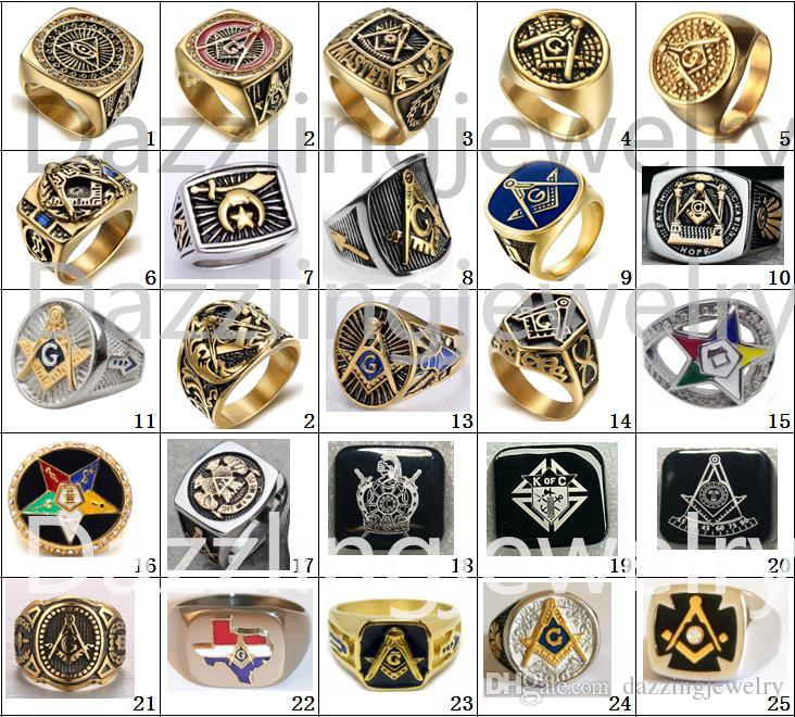 Stili di mistificazione in acciaio inox Freemaoson Masonic Past Master Ring Demolay Knights Templari di Columbus Spada Scudo Armatura Cross Fraternity Eastern Star Gioielli Articoli