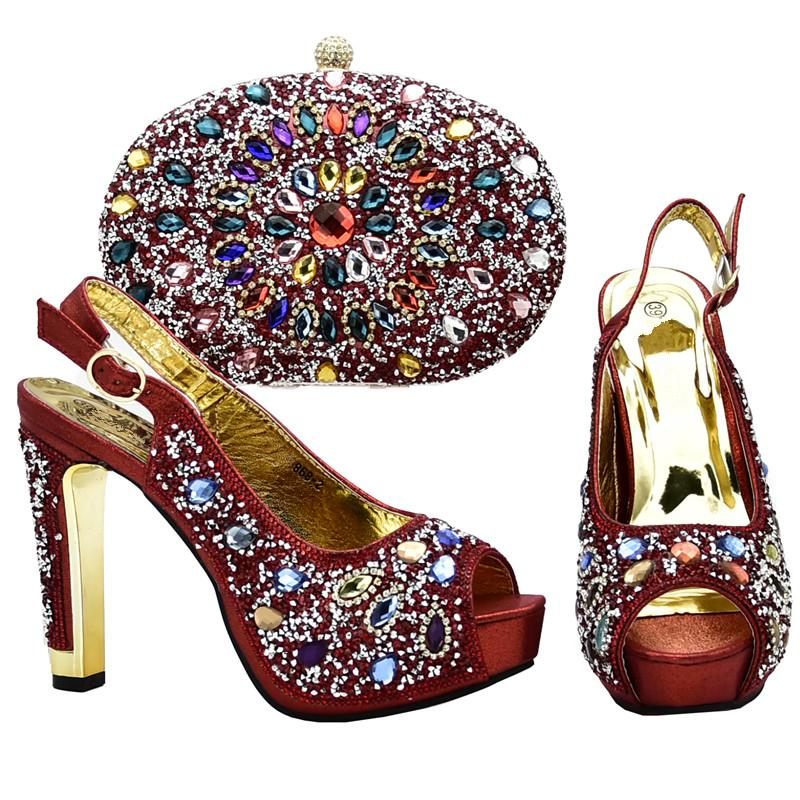 b4e2b4f2926 New Arrival Italian Women Wedding Shoes And Bag Set Decorated with ...