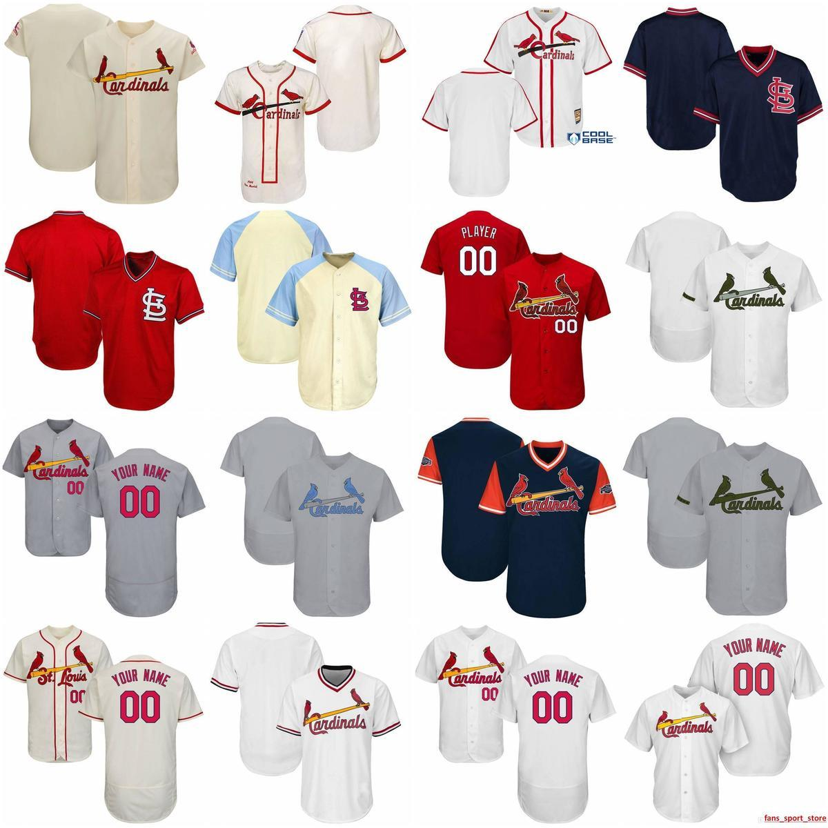 9a760125 2019 Custom Mens Womens Youth Cardinals Baseball Jerseys White Navy Gray  Cream Red Stitched any Name Any Number Flex Base Cool Base Jersey