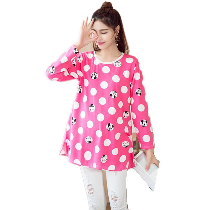 68879e42f Compre Nueva Otoño Maternidad Algodón TShirts Para Mujeres Embarazadas De  Manga Larga Ropa De Mujer Primavera Embarazo Tops Vestido Premama Desgaste  A ...