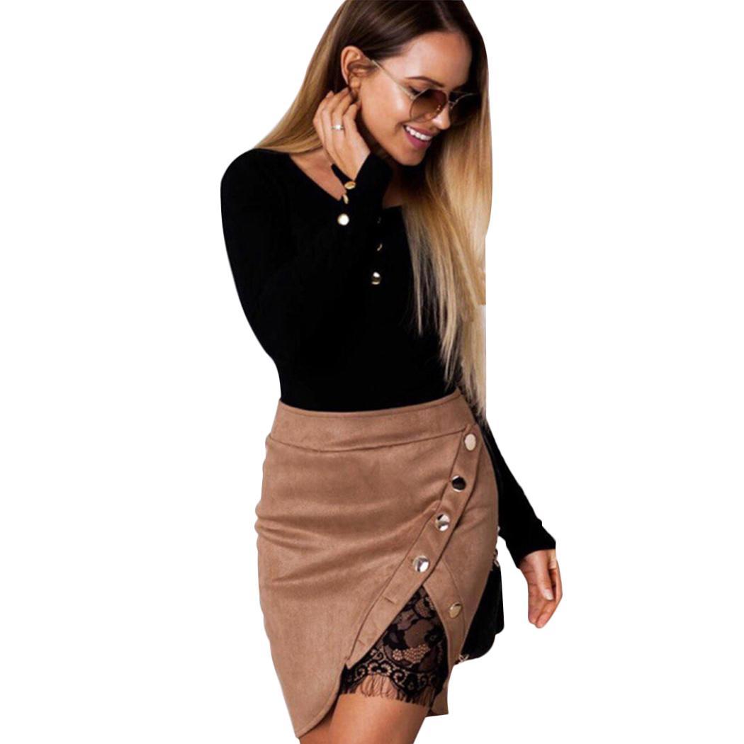 Compre Nuevas Mujeres Falda De Cuero Sexy De Encaje Forro Patchwork Hebilla  Metálica Dividida Mini Faldas Moda Señoras De Cintura Alta Falda Irregular  ... d7428d517d95
