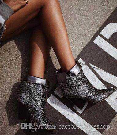 2018 Spring New Bling Dark Silver Glitter Women Ankle Boots Sexy Pointy Toe Ladies Finger Heel Boots Slip On Fashion Fold Boots
