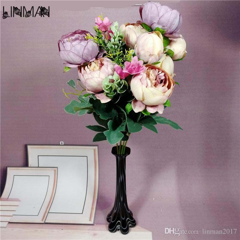 LIN MAN Artificial Peony Flower Vintage Autumn Fake Silk Simulation ...