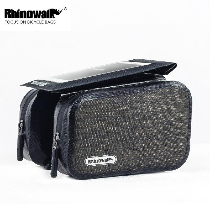 Rhinowalk Bike Top Tube Bag Rainproof MTB Bicycle Frame Front Head 6 Inch  Cellphone Touch Screen Bag Pannier Cycling Accessories