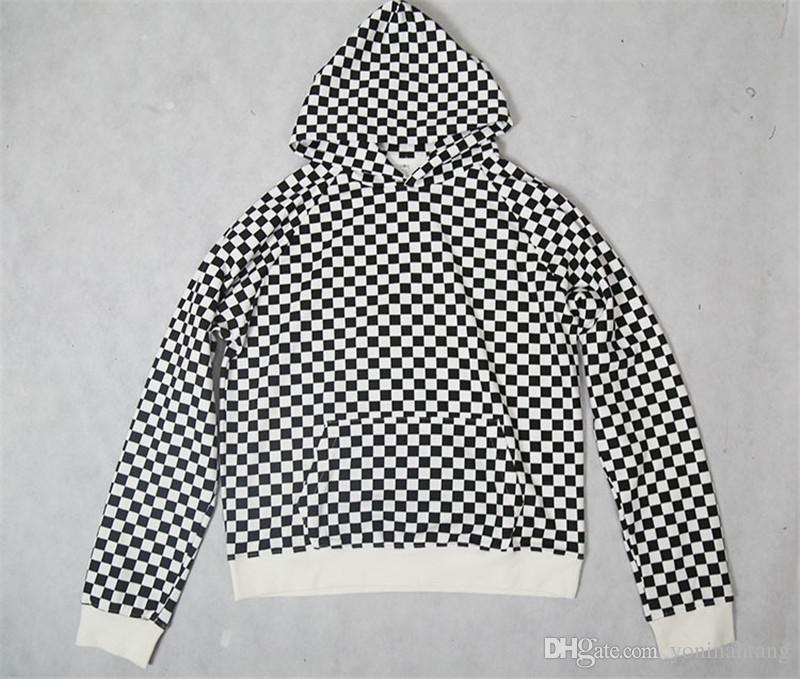 Atacado frete grátis homens de algodão de alta qualidade hip hop hoodies high street cor bloco xadrez top roupas treino