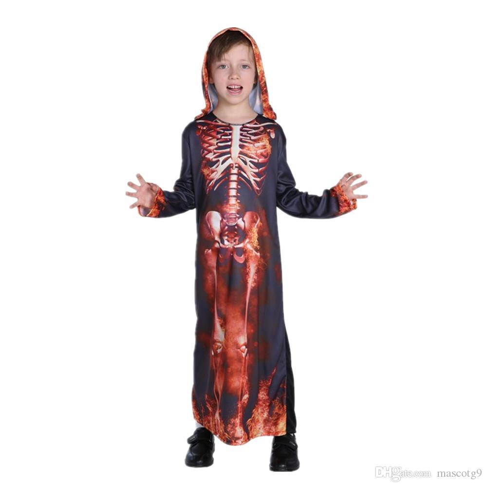 halloween horror kid skeleton costumes boys girls children party