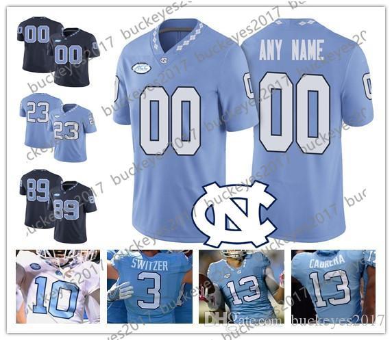 52d40fe24 2019 Custom North Carolina Tar Heels Any Player Blue White Stitched  11  Nathan Elliott 12 Chazz Surratt NCAA College Football Jerseys S 4XL From ...