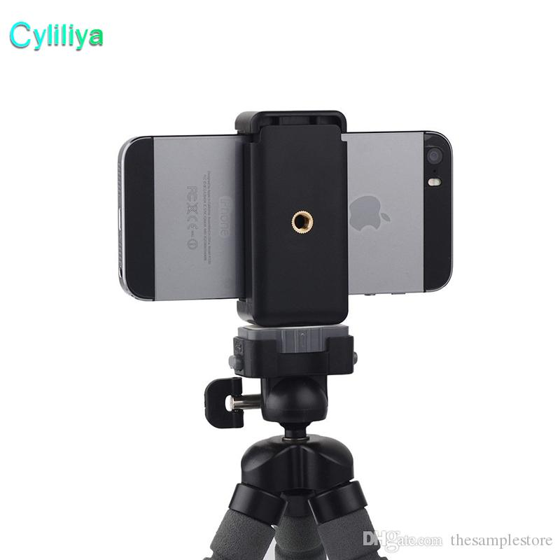 newest d3f1b dea5f Mini Camera Stand Clip Tripod Holder Mount Adapter E Style Bracket Holder  Mount For iphone X 8 plus Samsung S8 plus Smartphone Universal