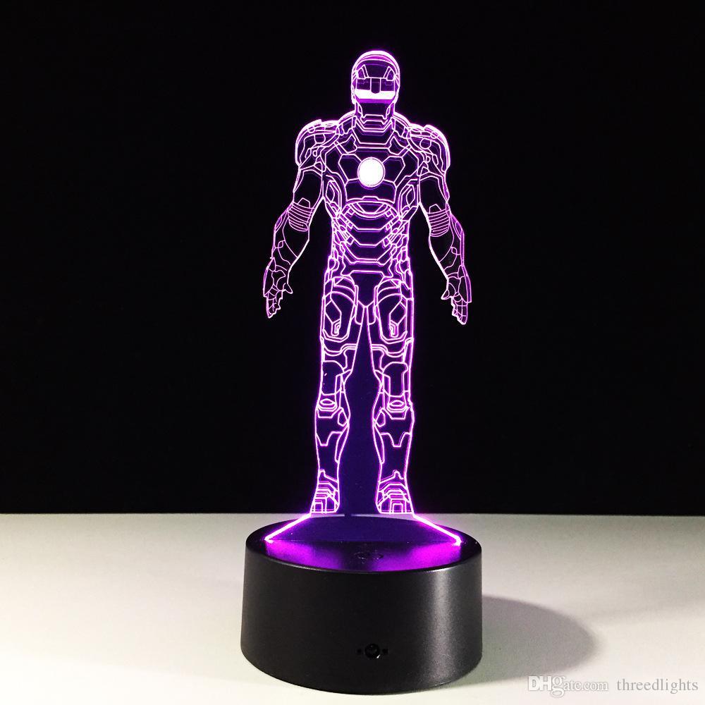 Neue ankunft Iron man für Kinder tischbeleuchtung 7 Farbwechsel gebäude USB Optische Täuschung Wohnkultur Tischlampe Neuheit Beleuchtung
