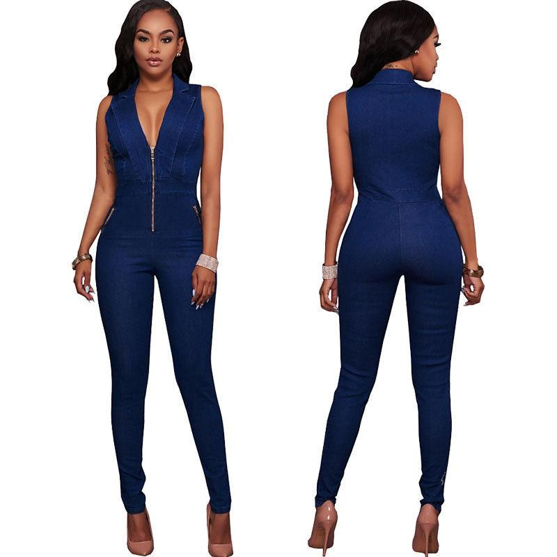 c36e8138992f 2019 Womens Jeans Jumpsuits Denim Long Pants Sexy Deep V Neck Slim Overalls  Jumpsuit Girl Sleeveless Club Wear Bodysuit Romper Zipper From Yesterlike