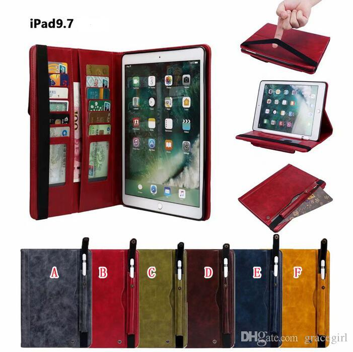 Retro Multi Cards Slot Wallet Leather Case For Ipad Air 2 5th 6th Pro 9.7 2017 2018 Pro 10.5 12.9 2016 Mini 1 2 3 4 Stylus Pen Pocket Cover