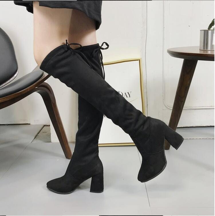 2f6ce72b5dc331 ECTIC Women Stretch Faux Suede Thigh High Boots Sexy Fashion Over The Knee  Boots High Heels Woman Shoes Black Botas Mujer DC 59 Chukka Boots Ladies  Shoes ...