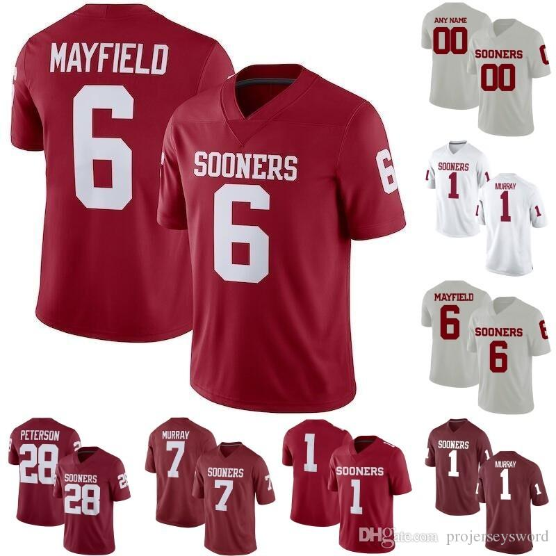 d8902762b99 2019 Mens Oklahoma Sooners 1 Kyler Murray 6 Baker Mayfield 7 DeMarco Murray 28  Adrian Peterson 44 Brian Bosworth College Football Jerseys From ...