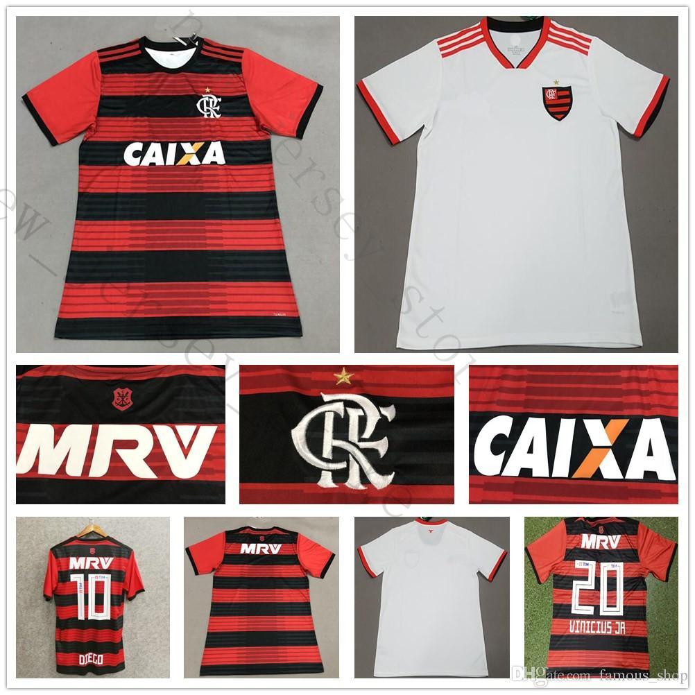 c1ba2e451841f 2018 2019 Flamengo Soccer Jersey 9 GUERRERO 10 DIEGO 20 VINICIUS JR  E.RIBEIRO MANCUELLO ZICO ELANO HERNANE 18 19 Camiseta De Fútbol Flamenca  Por Famous shop ...