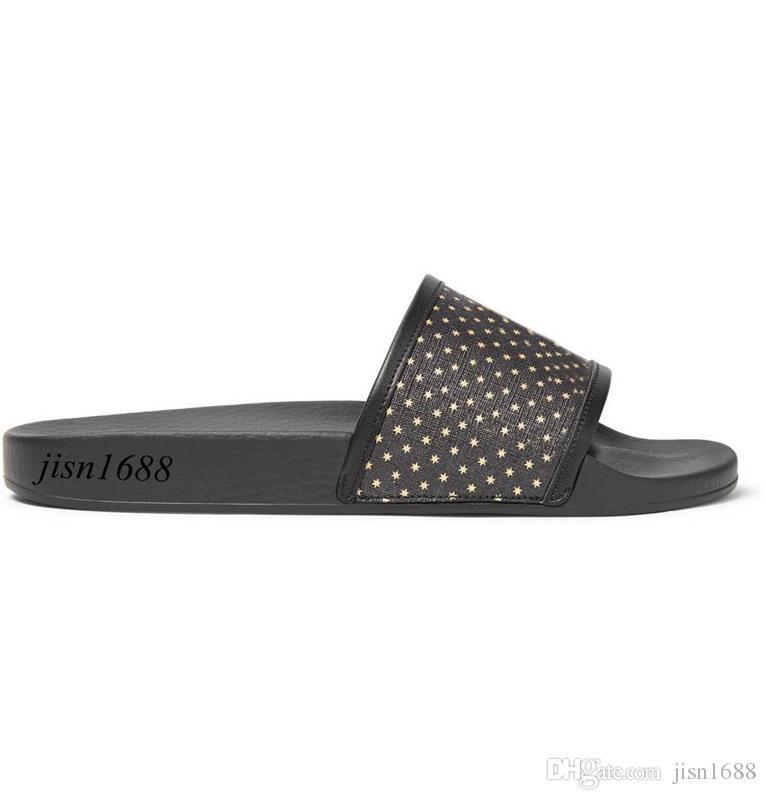 Spring Summer 2018 mens and womens fashion stars print black rubber slide sandals flip flops outdoor beach slippers