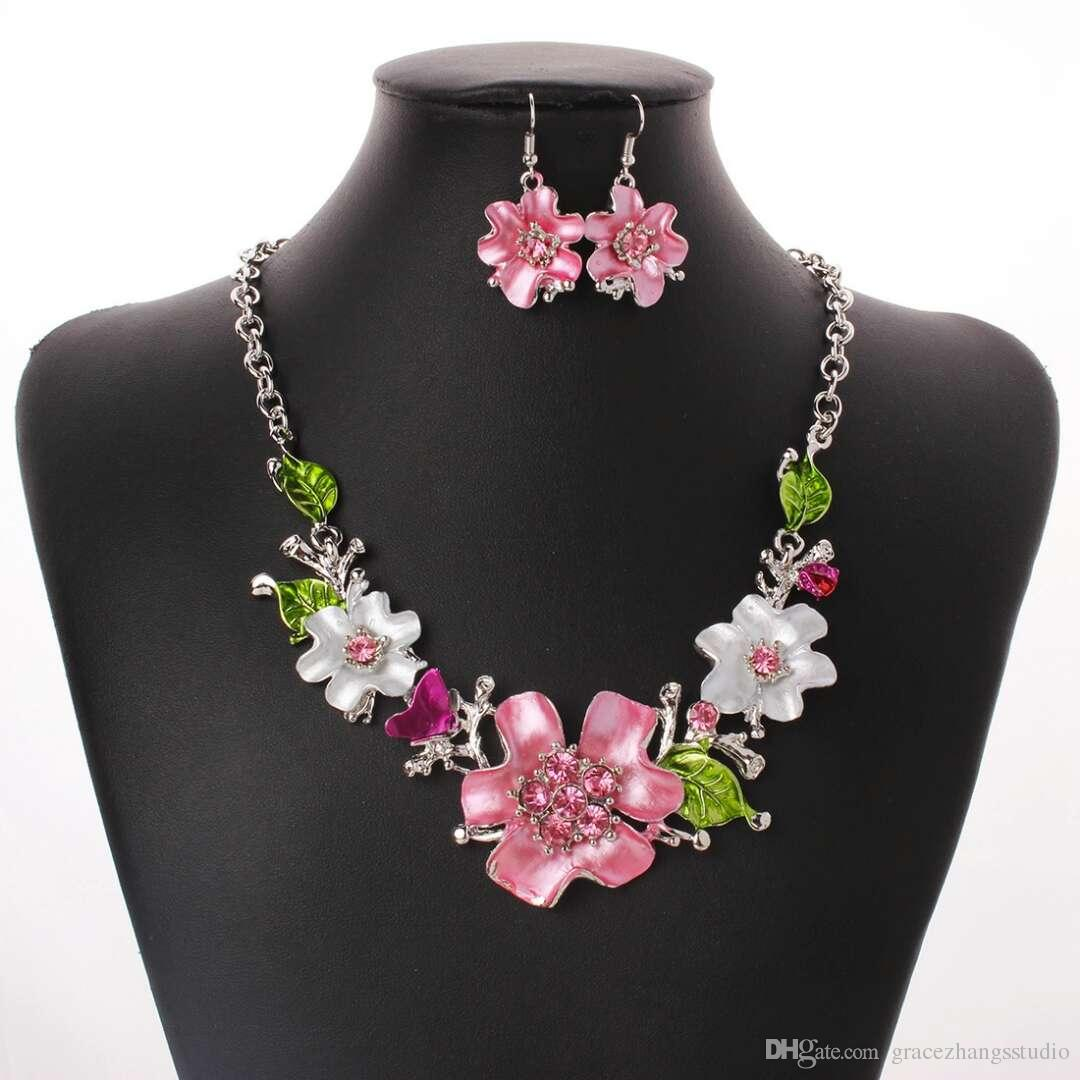 2018 Womens Cute Pink White Flowers Earrings Necklace Jewelry Sets
