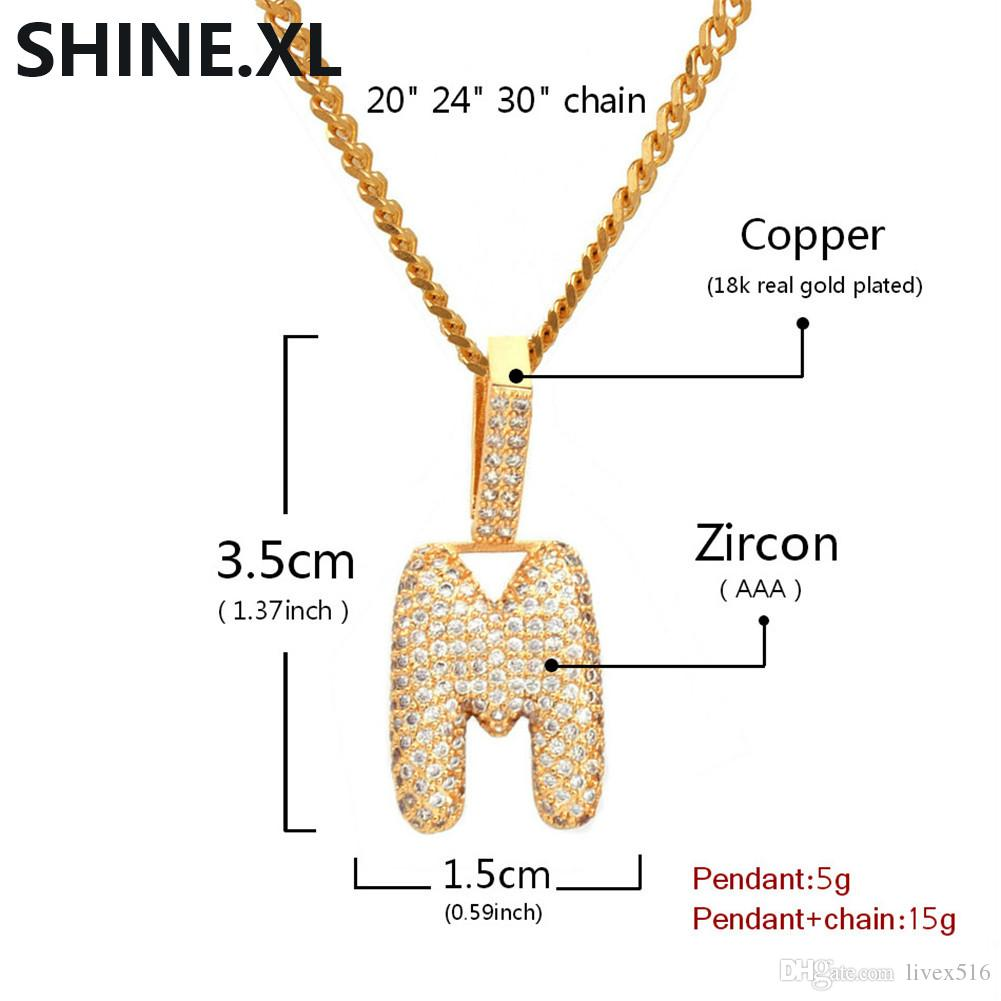 K-T Custom Name Small Bubble Letters Pendant Necklaces Charm For Men Women Gold Silver Iced Out Zircon Hip Hop Jewelry