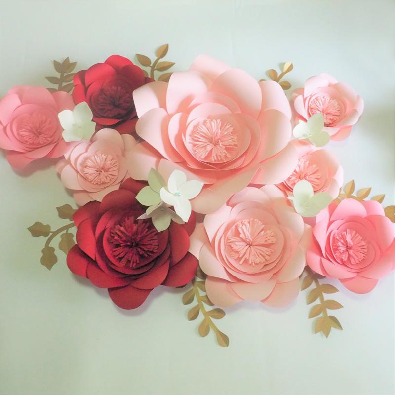 Compre 2018 flores de papel hechas a mano bricolaje medio flores de hortensia hojas para eventos - Flores de telas hechas a mano ...
