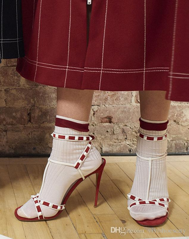 2018 color block squared rivets patchwork strappy high heels shoes summer sandals red black size 35 to 40