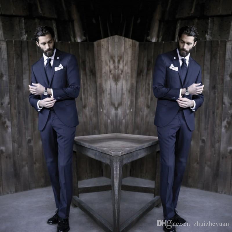 New Günstige Dark Navy Männer Anzüge Smoking Formale Nach Maß Business Anzug Zwei Stücke Slim Fit Besten Mann Anzug Hochzeit Anzüge Jacke + Pants