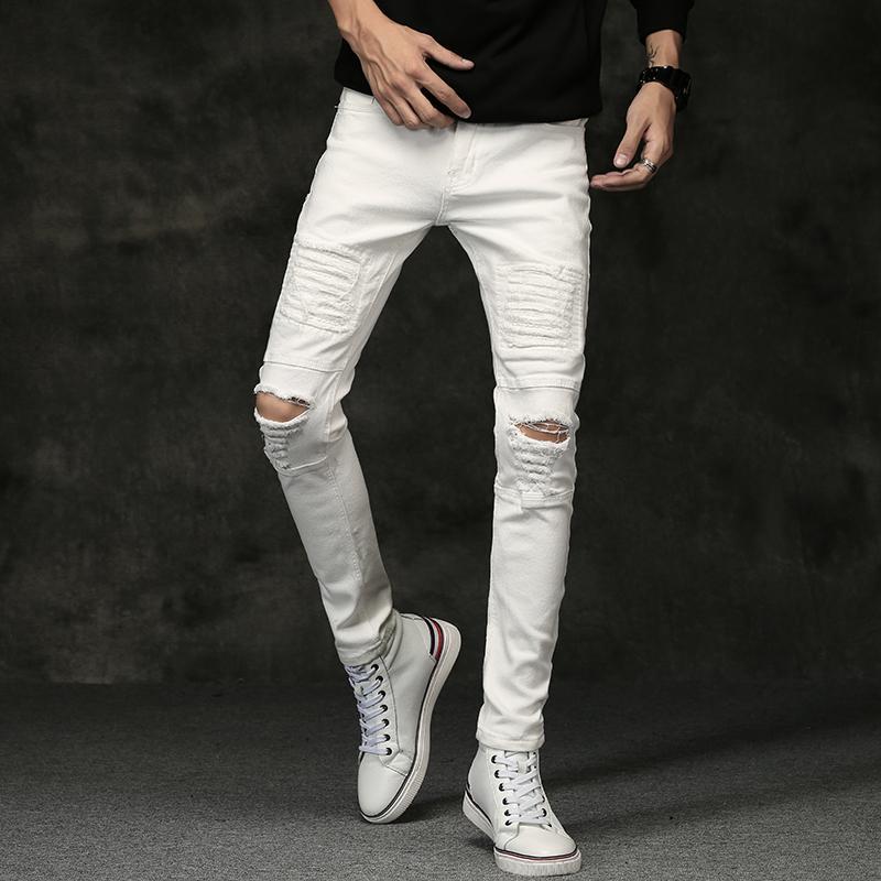 de3ff348b4a 2019 White Men Jeans Pants 2017 Autumn Mens Ripped Skinny Jeans Men Knee  Hole Stretch Black Jeans Men Slim Fit Denim Trousers Male D18102401 From  Yizhan05